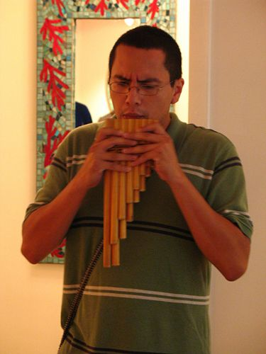 Pedro Gonzales playing musical instrument